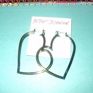 New Betsey Johnson Blue/Green Heart Earrings
